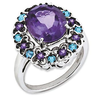 Libra esterlina plata pulido rodio amatista granate rodolita y Swiss azul topacio anillo - tamaño del anillo: 5 a 9