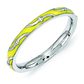 2.5mm Sterling Silver Polished Patterned Rhodium-plated Stackable Expressions Yellow Enamel Ring - Ring Size: 5 to 10