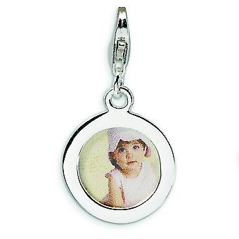Sterling Silver Rhodium-plated Fancy Lobster Closure Polished Circle Frame With Lobster Clasp Charm - Measures 28x15mm