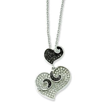 Sterling Silver and Cubic Zirconia Brilliant Embers Hearts Necklace - 18 Inch