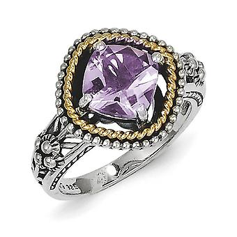 Sterling Silver With 14k 2.10Pink Amethyst Ring - Ring Size: 6 to 8