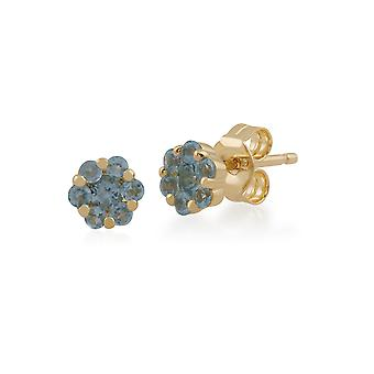 Gemondo 9ct Yellow Gold 0.32ct Blue Topaz Floral Stud Earrings