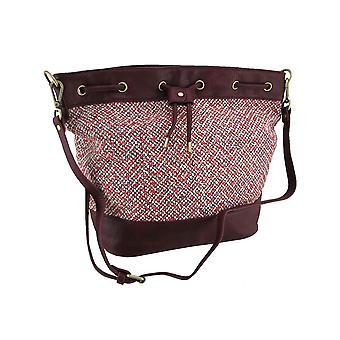 Tweed Drawstring Bucket Bag w/Adjustable and Removable Strap