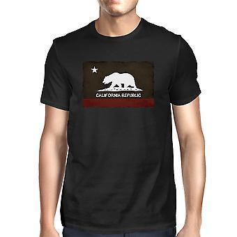 T gráfica California República bandera Varonil - Cool t-shirt negro