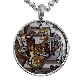 Stainless Steel Pendant With Chain, Jewellery, Clockwork Mechanism