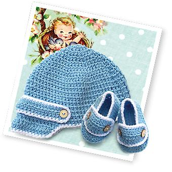 Baby Boy's Hat & Bootees Crochet Kit
