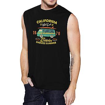 Endless Summer Mens Black Sleeveless Vintage Cotton Muscle Shirt