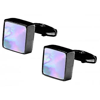 denisonboston Mindy Mother of Pearl Centre Cufflinks - Black/White