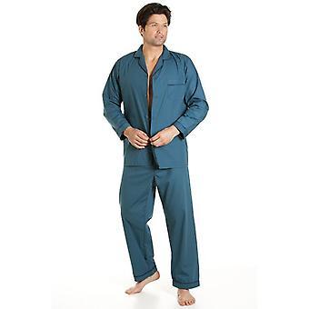 Haigman Haigman estilo clásico hombres completa longitud Teal verde pijama conjunto