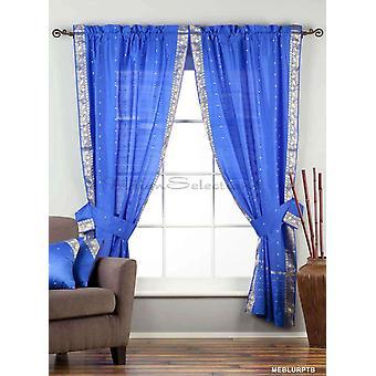 Indo fortryllende blå Rod Pocket ren Sari gardin drapere Panel 43 x 84 i med matchende inneholder