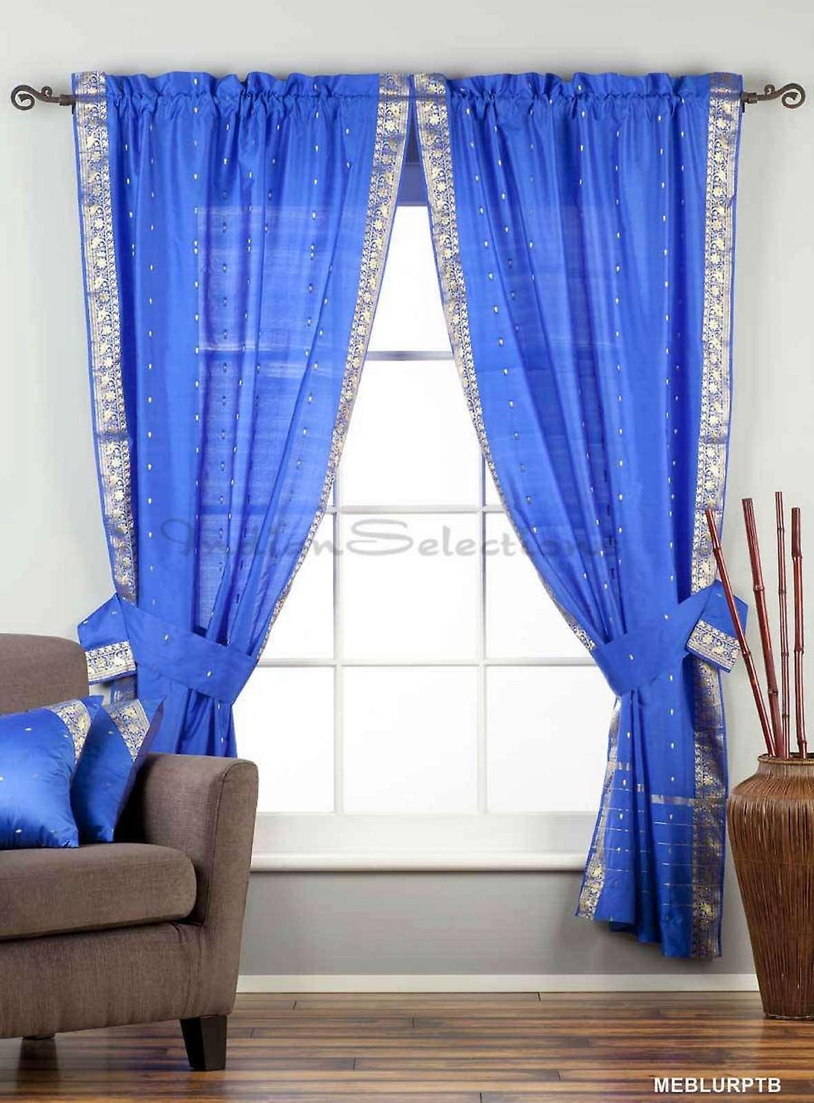 Indo Enchanting Blue Rod Pocket Sheer Sari Curtain Drape Panel 43x84 in w/ matching tieback