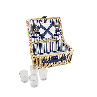 Yellowstone 4 person Wicker Picnic Basket With Natural Finish