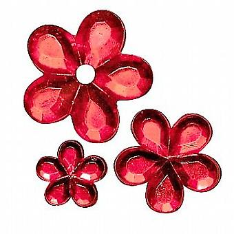 SALE -  310 Flower Shaped Acrylic Rhinestones for Crafts - Red