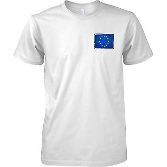 EU Europa Flag - Grunge Effect - Kids borst Design T-Shirt