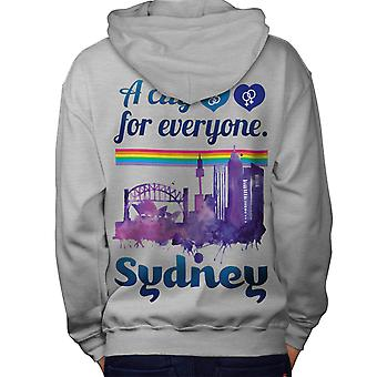 Pride Love Urban Sydney Men Grey Hoodie Back | Wellcoda