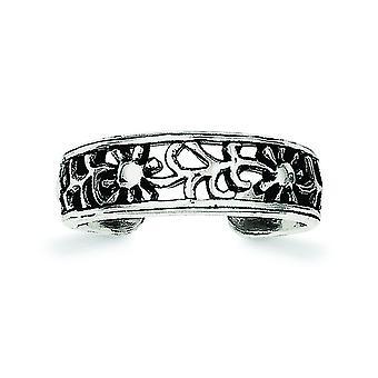 Sterling zilveren solide antiek finish Boulder Floral teen Ring