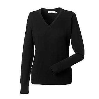 Russell Collection Ladies/Womens V-Neck Knitted Pullover Sweatshirt