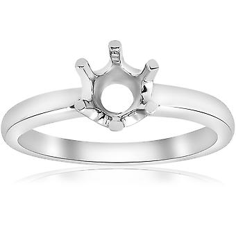White Gold Solitaire Semi Mount Engagement Ring Setting