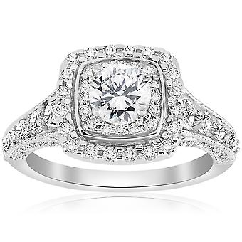 1 1 / 2ct Halo Double coussin Vintage Diamond Engagement Ring 14K or blanc