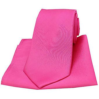 David Van Hagen Diagonal Twill Woven Tie and Pocket Square Set - Fuchsia