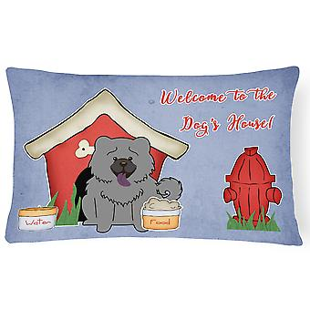 Dog House Collection Chow Chow Blue Canvas Fabric Decorative Pillow