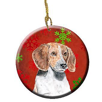 Foxhound inglês vermelho flocos de neve férias cerâmica ornamento
