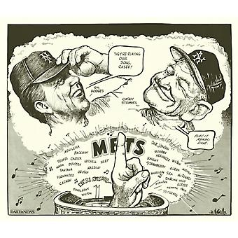 86 Mets Gil Hodges & Casey Stengel Poster Print by Bill Gallo (14 x 12)