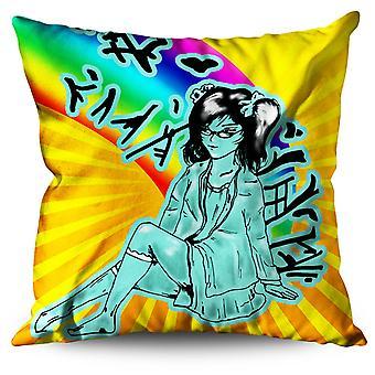 Asian Girl Mystic Linen Cushion Asian Girl Mystic | Wellcoda