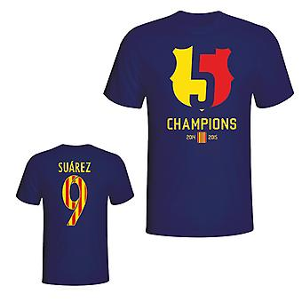 Barcelona 2015 Luis Suarez Champions Tee (marinen)