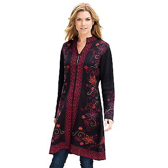 Invisible World Women's 100% Baby Alpaca Hand-Embroidered Knit Coat