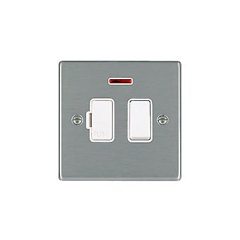 Hamilton Litestat Hartland Satin Stainless 13A DP Fused Spur + Neon WH/WH