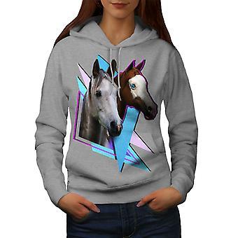 Horse Cool Print Animal Women GreyHoodie | Wellcoda