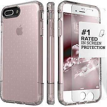 SaharaCase iPhone 8 Plus & 7 Plus Rose Gold Clear Case, Inspire Protective Kit Bundle with ZeroDamage Tempered Glass