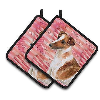 Carolines Treasures  BB9734PTHD Smooth Fox Terrier Love Pair of Pot Holders