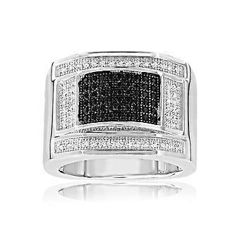 Ring in Silber und 108 Zirkonia schwarz Swarovski-Kristallen und weiß - T56
