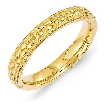 3.5mm Sterling Silver Polished Stackable Expressions Gold-Flashed Patterned Ring - Ring Size: 5 to 10