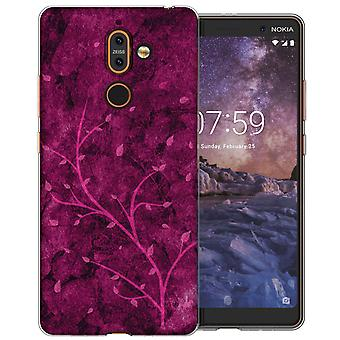Nokia 7 Plus roze boom TPU Gel geval