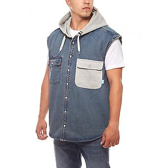 Sweet SKTBS mænds vest denim vest blå hætte sweat