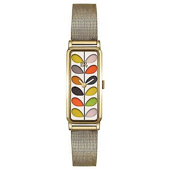 Orla Kiely Womans modelé Dial maille plaqué or bracelet OK4034 Watch