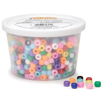Tub-O-Beads Pony Beads 6mmX9mm 7oz-Opaque Multicolor