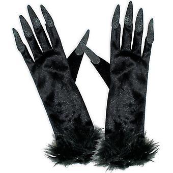 Heks handschoenen zwart lange vingernagels accessoire Halloween heks