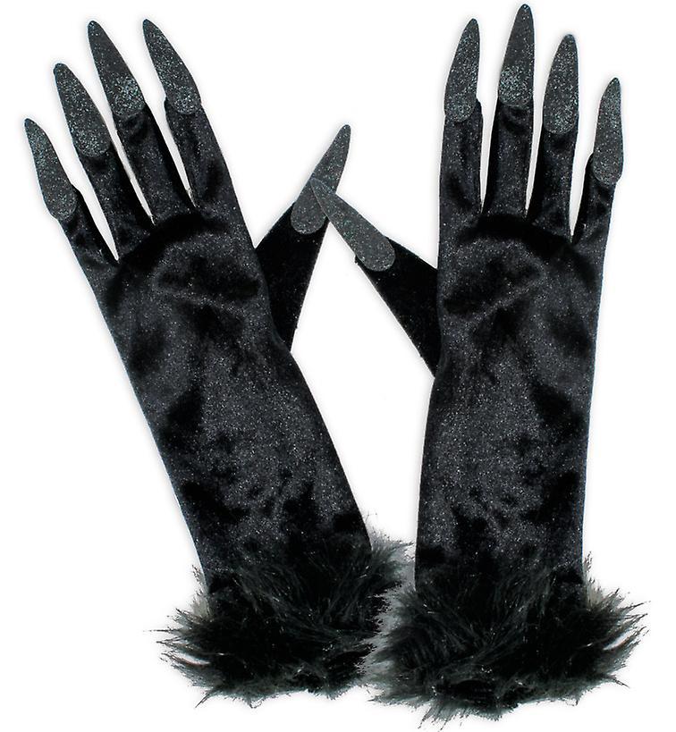 Häxa Handskar Svart lång naglar tillbehör Halloween häxa
