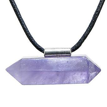 Brazilian Double Terminated Charm Crystal Point Amethyst Gemstone Amulet Pendant Necklace
