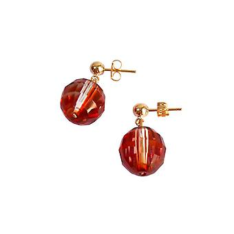 Gemshine - dames - boucles d'oreilles - * magma rouge * - rouge - doré - MADE WITH SWAROVSKI ELEMENTS® - 1,5 cm