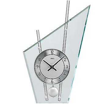 Quartz table clock table clock with pendulum-quartz silver painted metal rods mineral glass