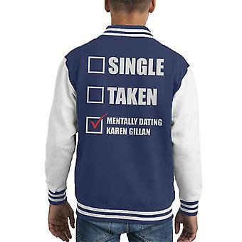 Mentally Dating Karen Gillian Kid's Varsity Jacket