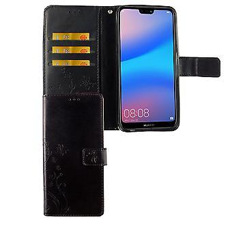 Huawei P20 Lite Handy-Hülle Schutz-Tasche Cover Flip-Case Kartenfach Schwarz