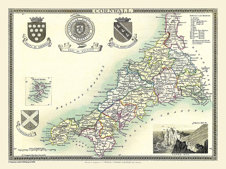 Karta över Cornwall 1836 av Thomas Moule 1000 bit pussel (jhg)