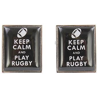 Zennor Keep Calm and Play Rugby Cufflinks - Black