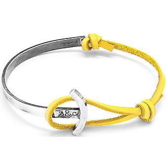 Anchor and Crew Galleon Silver and Leather Bracelet - Mustard Yellow